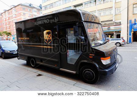 Stokholm, Sweden - September 10, 2019: One Parked Ups Delivery Van.