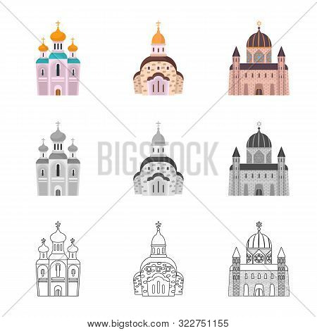 Vector Illustration Of Cult And Temple Icon. Collection Of Cult And Parish Stock Vector Illustration