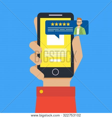 Feedback Customer Review Page On Smartphone, Rating And Customer Review Feedback Concept Vector Illu