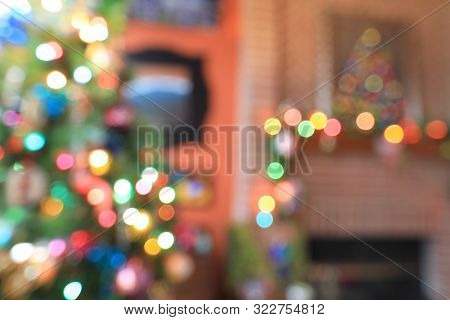 Colorful, festive Christmas lights make a perfect holiday background.  The blurred, bokeh allows plenty of copy space.