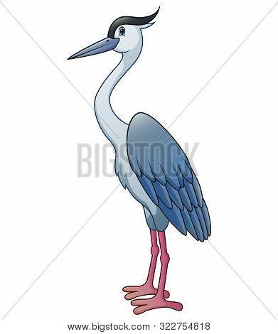 Cartoon The Heron Isolated On White Background
