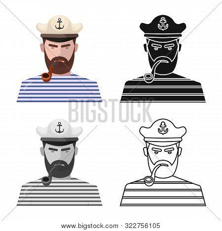 Vector Design Of Captain And Seaman Symbol. Collection Of Captain And Face Stock Symbol For Web.