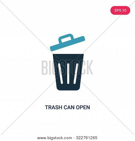 trash can open icon in two color design style.