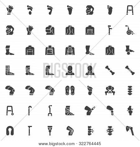 Orthopedic Rehabilitation Vector Icons Set, Modern Solid Symbol Collection, Filled Style Pictogram P