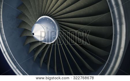 Jet Engine Turbine Close-up Background. 3d Rendering