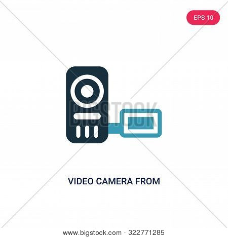 video camera from frontal view icon in two color design style.