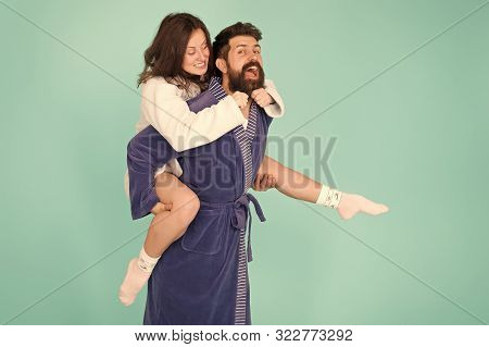 Romantinc Couple In Love. Happy Family. Woman And Man In Robe. Perfect Morning. Having Fun. Happy Co