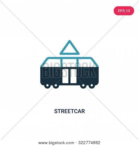 streetcar icon in two color design style.