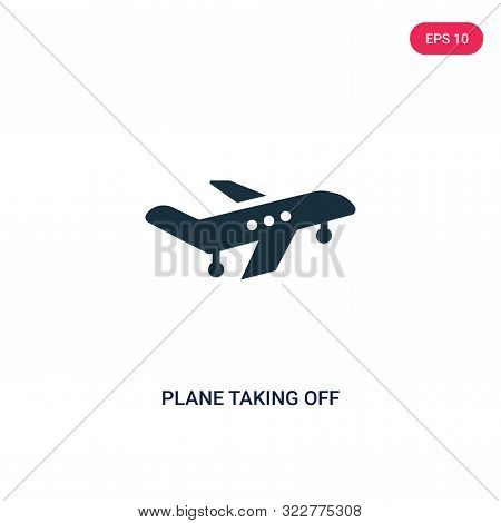 plane taking off icon in two color design style.