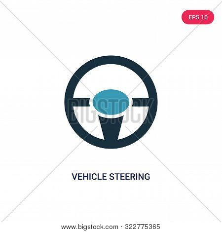 vehicle steering wheel icon in two color design style. vehicle steering wheel vector icon modern and trendy flat symbol for web site, mobile, app, logo, UI. vehicle steering wheel colorful isolated icon on white background. vehicle steering wheel