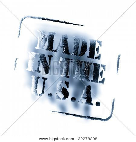 Blue grungy made in the usa stamp