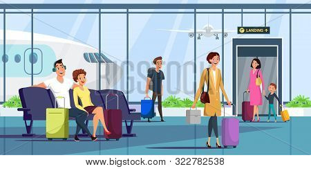 People At Airport Terminal Flat Illustration. Men And Women With Baggage Arriving, Waiting For Depar