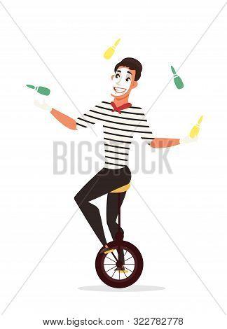 Circus Juggler Flat Vector Illustration. Mime Artist Riding Unicycle Cartoon Character. Actor Juggli