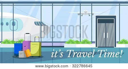 Travel Time Web Banner Vector Design. Airport Terminal Waiting Room Flat Illustration. Luggage, Suit