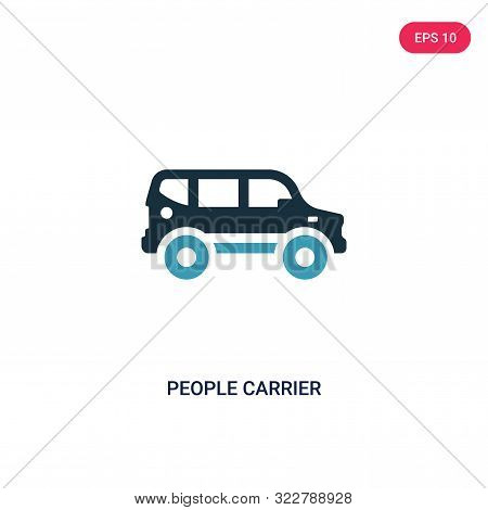People Carrier Icon In Two Color Design Style. People Carrier Vector Icon Modern And Trendy Flat Sym