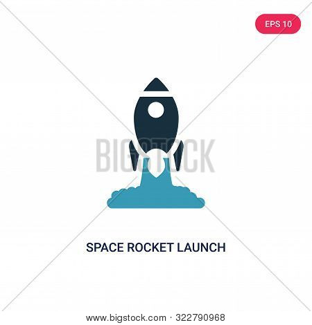 space rocket launch icon in two color design style.