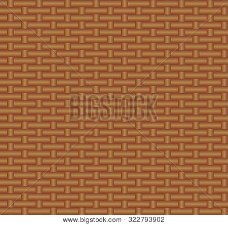 Vector Seamless Pattern, Straw Binding Background, Brown Color, Illustration Template, Wicker Textur