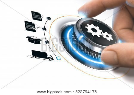 Hand Turning A Process Knob Over White To Fullfill An Order. Concept Of E-commerce. Composite Image