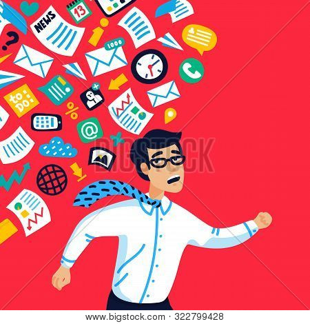 Overloading Concept. Information Overloading. Young Businessman Running Away From Information Stream