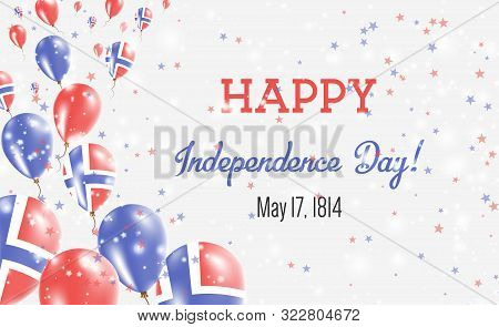 Norway Independence Day Greeting Card. Flying Balloons In Norway National Colors. Happy Independence