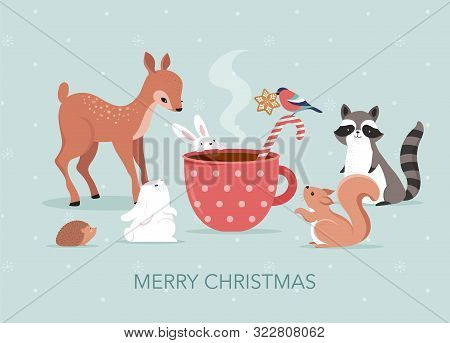 Cute Forest Animals, Winter And Christmas Scene With Deer, Bunny, Raccoon, Bear And Squirrel. Perfec