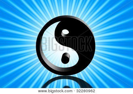 Yin and yang symbol in sunshine