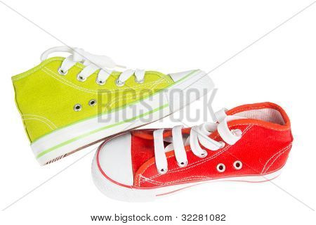 Green and red sneaker