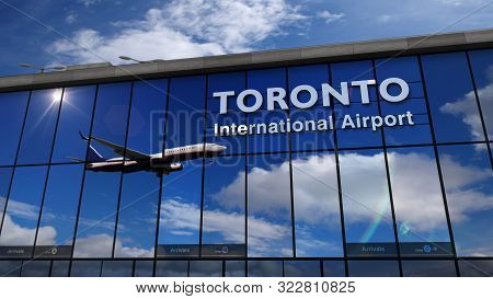 Jet Aircraft Landing At Toronto, Canada 3d Rendering Illustration. Arrival In The City With The Glas