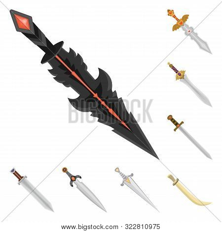 Isolated Object Of Sword And Dagger Icon. Collection Of Sword And Weapon Stock Vector Illustration.