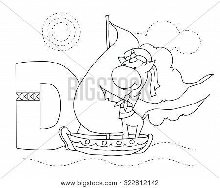 Letter D And Funny Cartoon Unicorn. Animals Alphabet A-z. Coloring Page. Printable Worksheet. Handwr