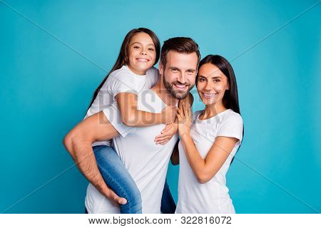 Foster Family Spending Sunny Weekend Playing Outdoor Games Wear Casual Outfit Isolated Blue Backgrou