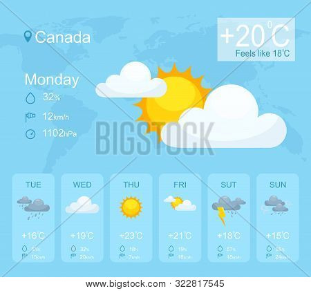 Weather Forecast Smartphone Application Vector Template. Mobile App Page Blue Interface. Weather Con