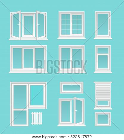 Plastic Windows Flat Vector Illustrations Set. House Interior, Exterior Decor Elements, Modern Archi