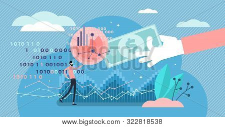 Selling Data Vector Illustration. Flat Tiny Information Purchase Persons Concept. Business Commerce
