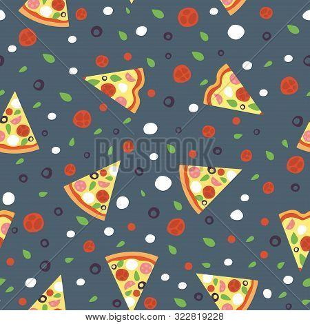 Pizza Slice Vector Seamless Pattern With Mozzarella Basil Cherry Olive On Dark Background. Sliced Pi