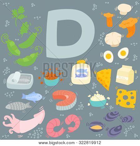 Vitamin D Doodle Set On Dark Background. Hand Drawn Illustration Of Different Food Rich Of Vitamin D