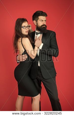 esthete. Romantic relationship. art experts of bearded man and woman. Formal couple date. Couple in love. Formal party. esthete look. fashion and beauty. esthete taste of fashion couple. Love in look. poster