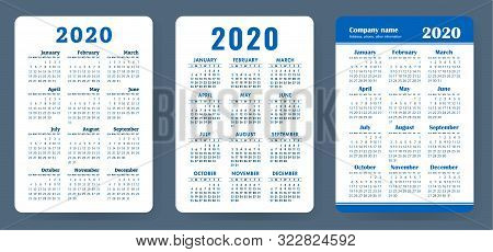 Calendar 2020. Color Vector Set. Pocket Calender Collection. Week Starts On Sunday. Basic Grid Templ
