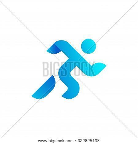 Running Man, Athletics, Marathon, Summer Sport, Run Icon Isolated On White Background. Minimal Cover