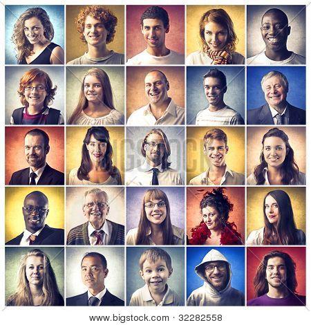 Zusammensetzung der verschiedenen leute lächelnd