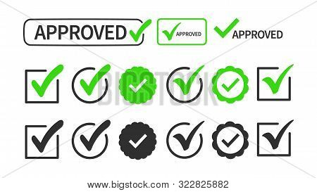 Checkmark Or Tick Mark Collection Set Isolated On White Background. Sign - Approval, Choice, Selecti