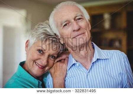 Portrait of senior couple smiling in living room at home