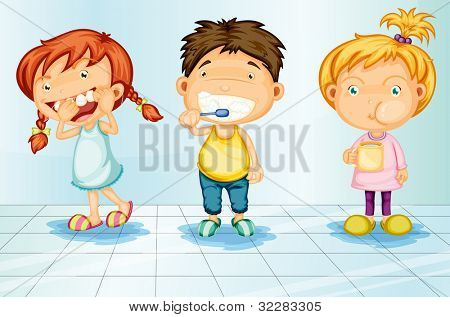 Kids caring for teeth illustration - EPS VECTOR format also available in my portfolio.