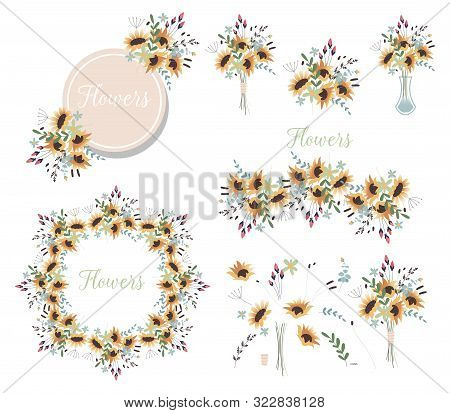 Bouquet Of Flowers In A Vase. Set Of Floral Wreaths And Various Design Elements For Greeting Cards.