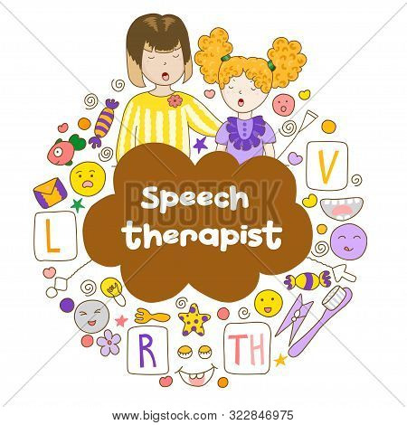 Concept Speech Therapy Logo. School Speech Development. Cute Childrens Drawings Icons In Kavai Style