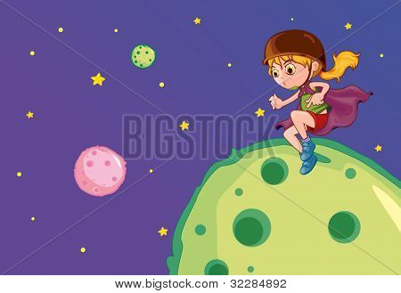 Illustration of flying girl on the moon - EPS VECTOR format also available in my portfolio.