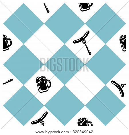 Seamless Pattern For Oktoberfest In Blue White Checkered With Beer Glass And Bratwurst. Vector File