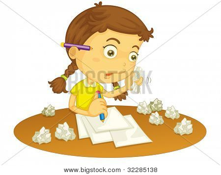 Illustration of a girl writing - EPS VECTOR format also available in my portfolio.
