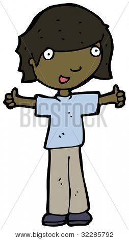 cartoon boy gibing thumbs up sign