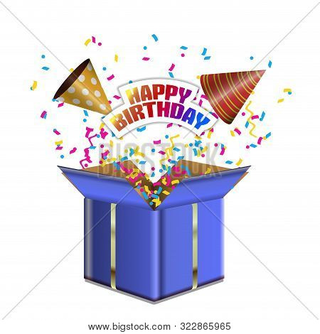 Birthday Hats, Confetti And Opened Gift Box With Happy Birthday Text - Vector